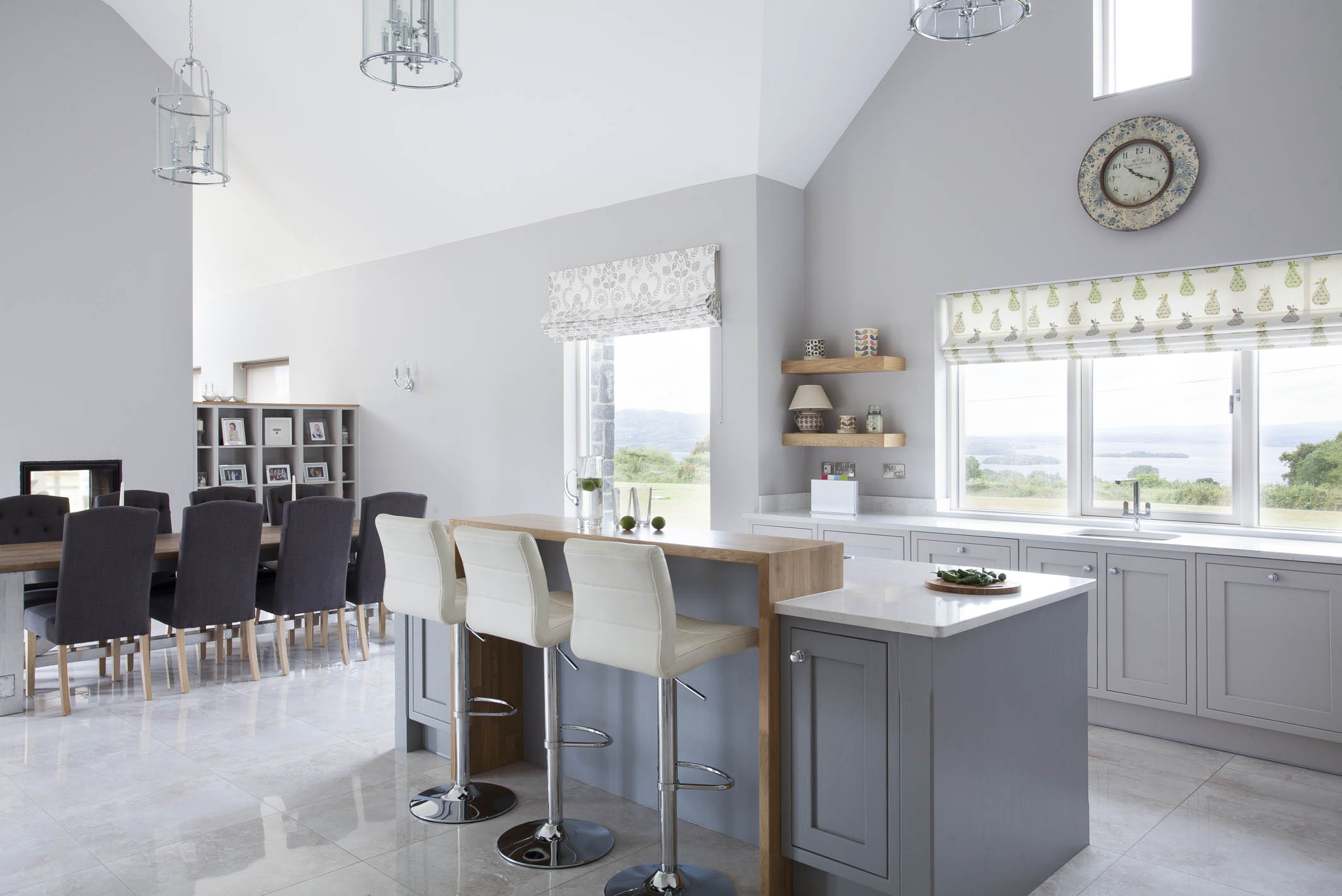 Classic style inframe painted white and grey kitchen, Tipperary