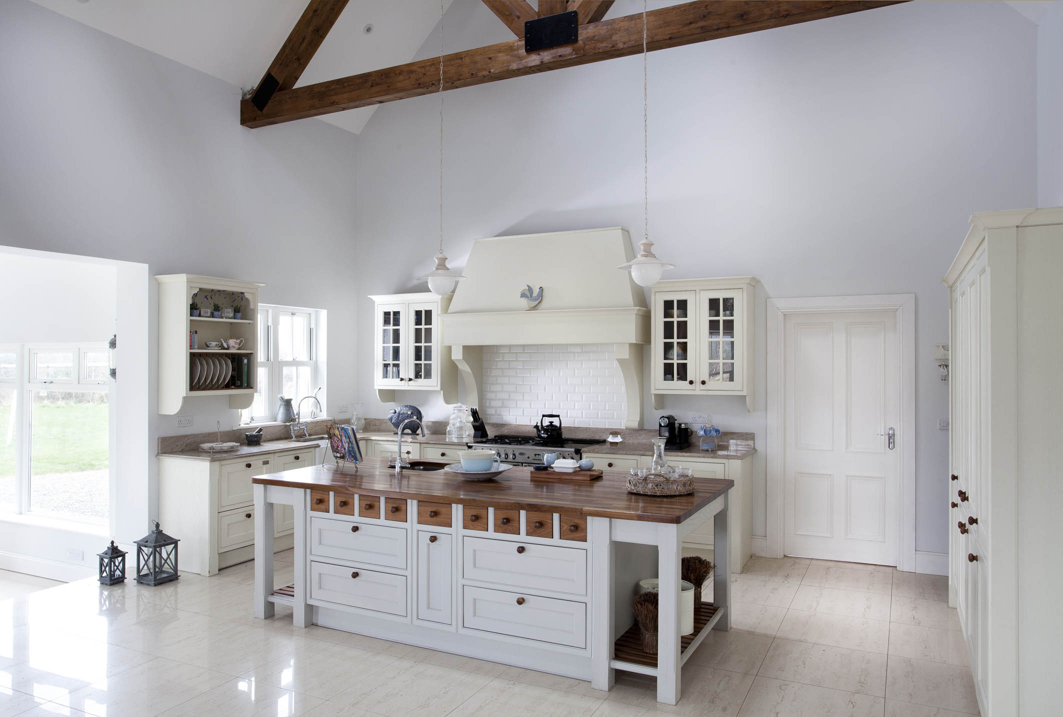 Handcrafted Bespoke Kitchen Handpainted In White And Pavilion Grey