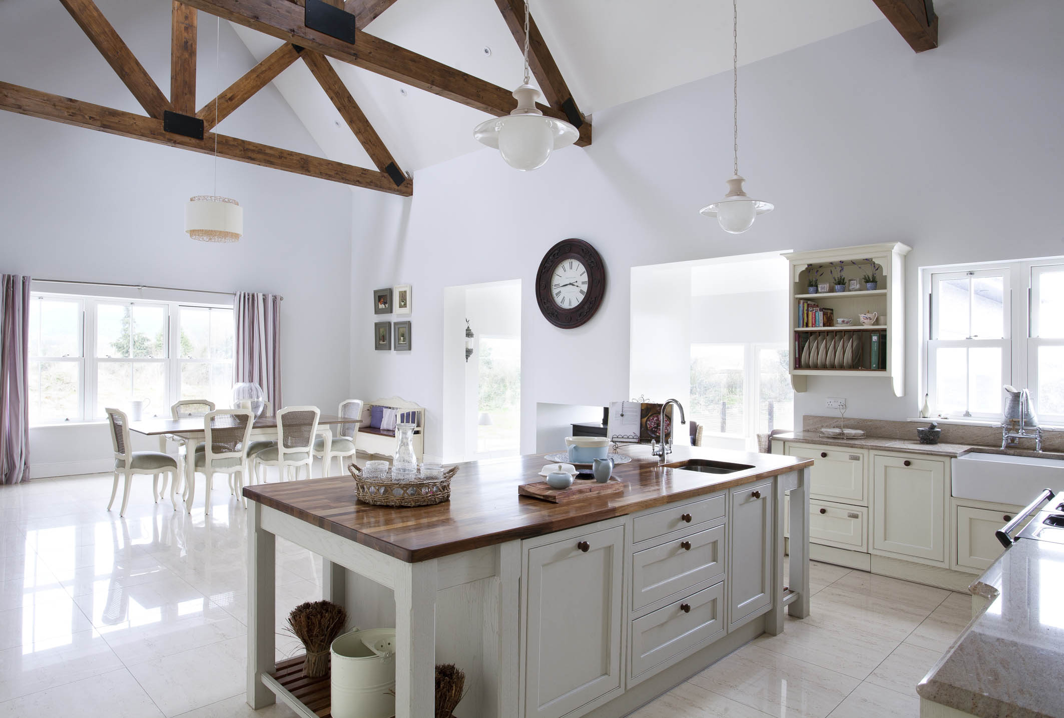 Farrow And Ball Kitchen Handcrafted Bespoke Kitchen Handpainted In White And Pavilion Grey